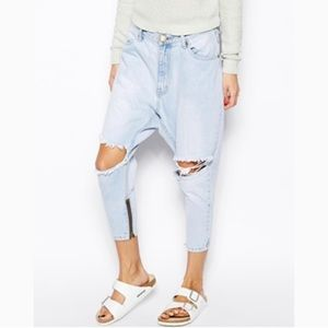 One Teaspoon Kingpins Light Wash Cropped Jeans